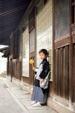 画像6: *サイズ調整不可 羽織袴  アンティーク鷹かぶと 黒【対応身長】110cm〜115cm (6)
