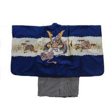 画像2: 羽織袴  古典柄  青カブト【対応身長】100cm〜105cm *サイズ調整不可  (2)