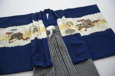画像3: 羽織袴  古典柄  青カブト【対応身長】100cm〜105cm *サイズ調整不可  (3)