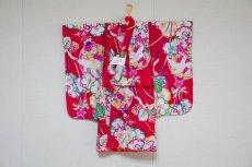 画像1: 【KIMONOTTE】 【袴】鳩と花薬玉 レッド  【対応身長】85cm〜100cm (1)