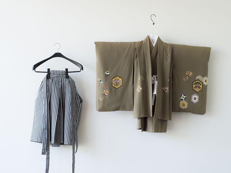 画像1: 4〜6歳男子 羽織袴  正絹うぐいす【対応身長】105cm〜115cm (1)