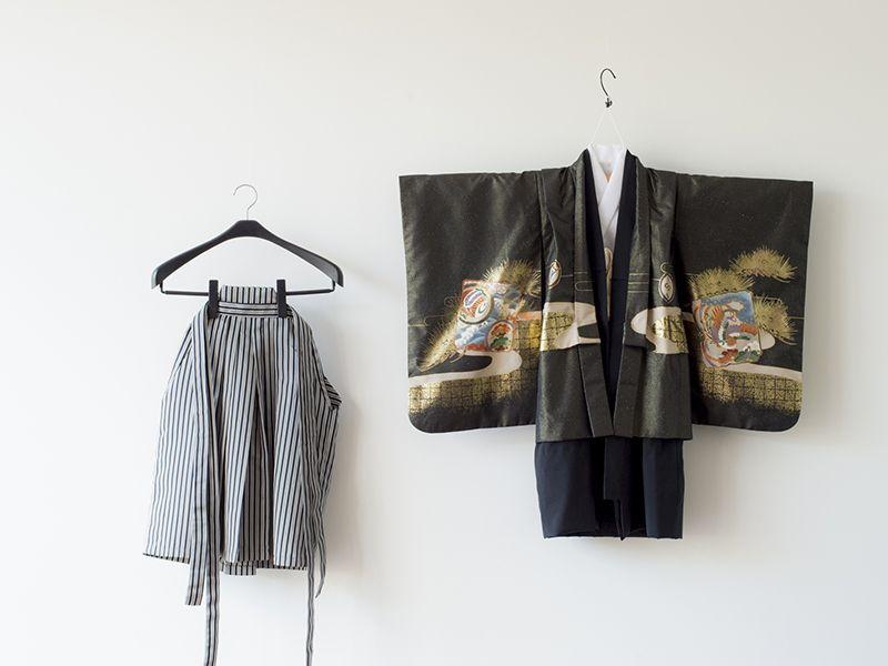 画像1: *サイズ調整不可 羽織袴  アンティーク富士 光沢黒【対応身長】105〜112cm (1)