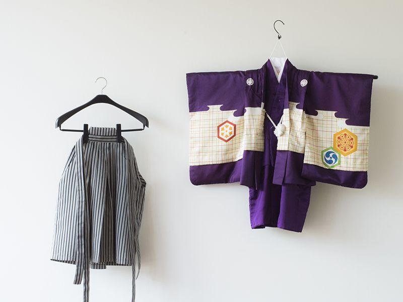画像1: 羽織袴  アンティーク兜 紫 【対応身長】95cm〜100cm *サイズ調整不可 (1)