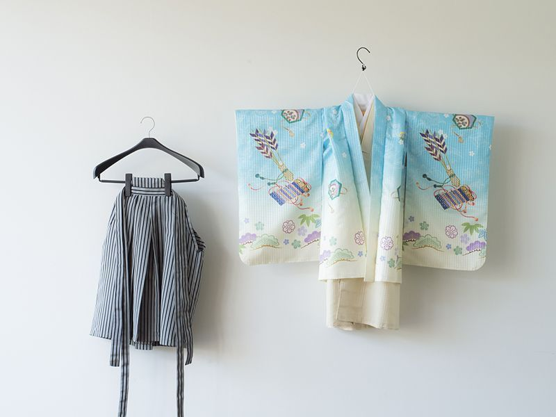 画像1: 羽織袴 ブルーかぶと【対応身長】105cm〜115cm (1)