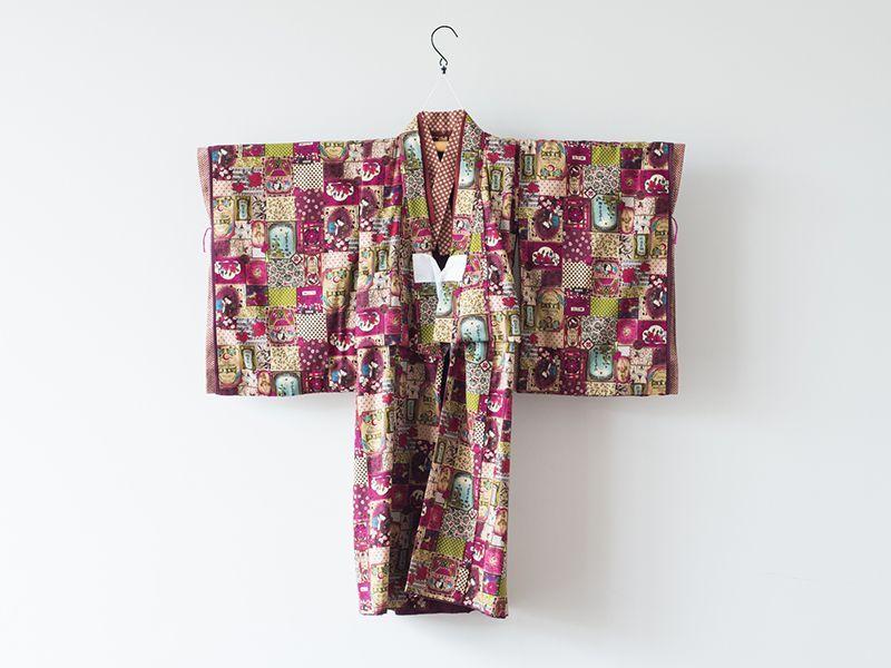 画像1: *サイズ調整不可 【袴】藤代工房 ハイカラ赤紫さん 【対応身長】118cm〜125cm (1)