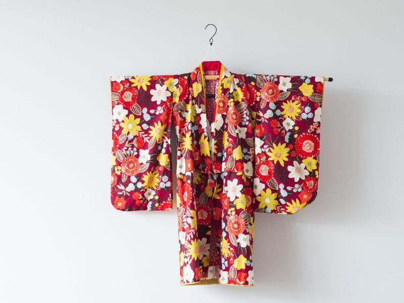 画像1: 【帯】コドモキモノ 秋リボン 【対応身長】100〜110cm (1)