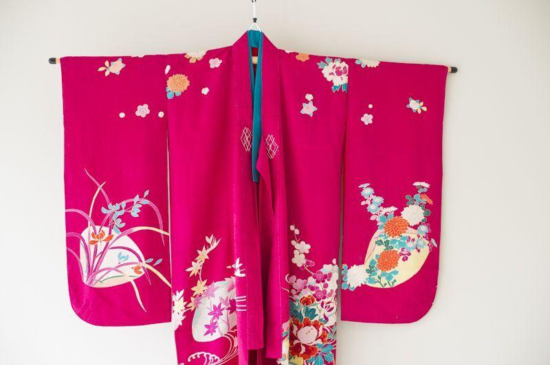 画像1: 【アンティーク着物】7歳女の子 古典柄 紅梅 (1)