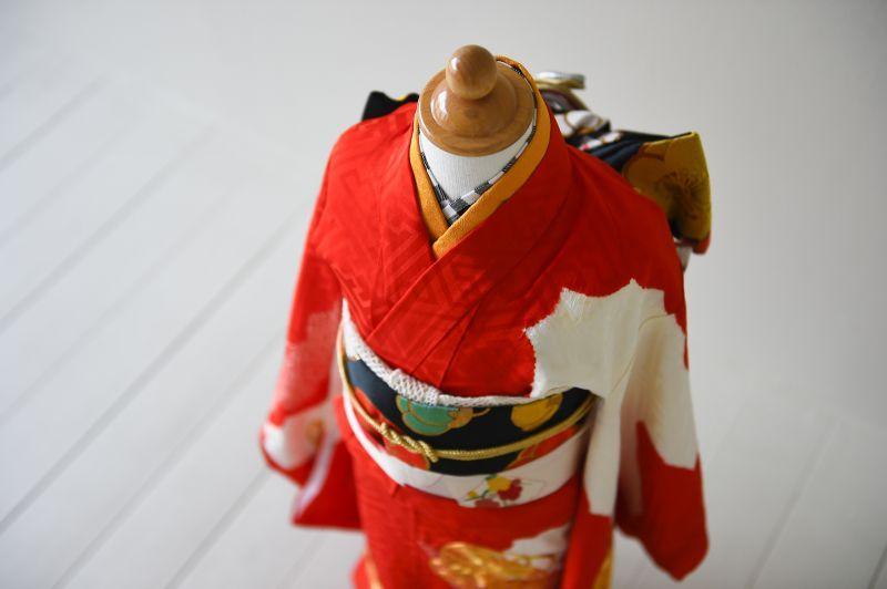 画像1: 【アンティーク着物】3歳女の子 古典柄 白雲 (1)