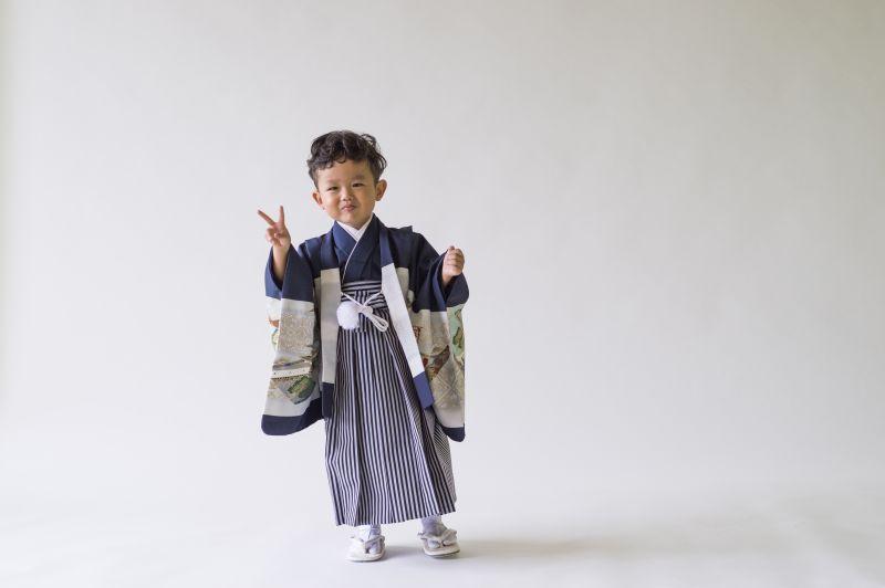 画像1: 羽織袴  古典柄 小鷹  【対応身長】90〜95cm *サイズ調整不可 (1)