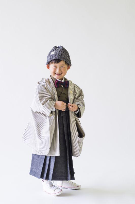 画像1: 【Re:Studio】5歳男の子 デニム羽織袴  【対応身長】100cm〜115cm (1)