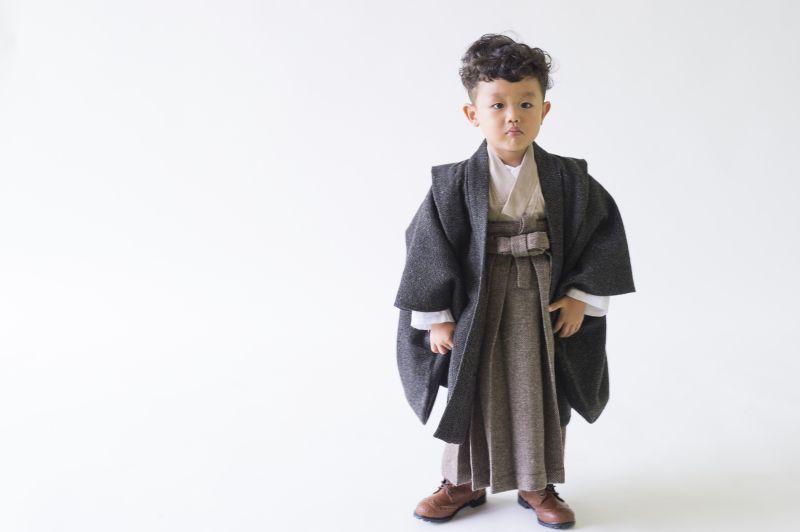 画像1: 【Re:Studio】3歳男の子 アンティーク風羽織袴  【対応身長】90cm〜100cm (1)