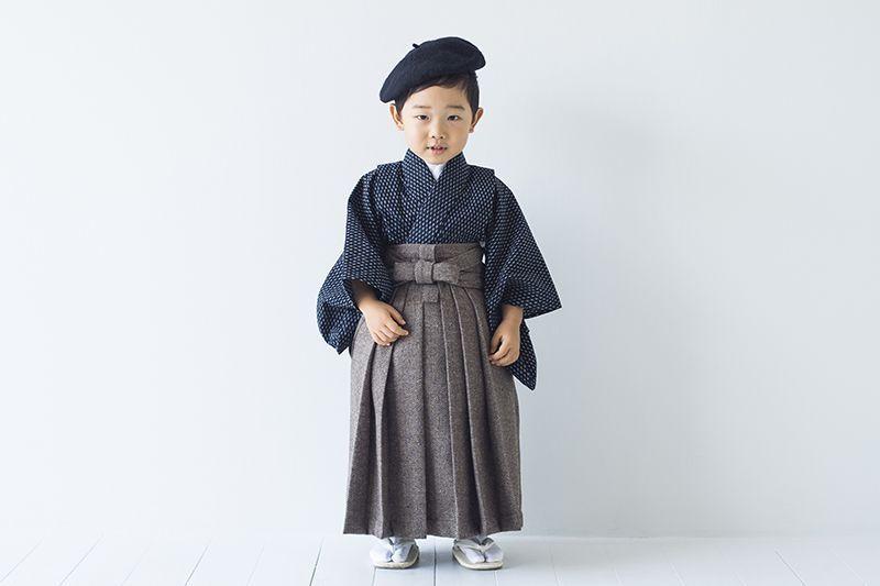 画像1: ベレー帽&袴 大正ロマン文豪くん 【対応年齢】3歳〜4歳 【対応身長】90cm〜95cm (1)