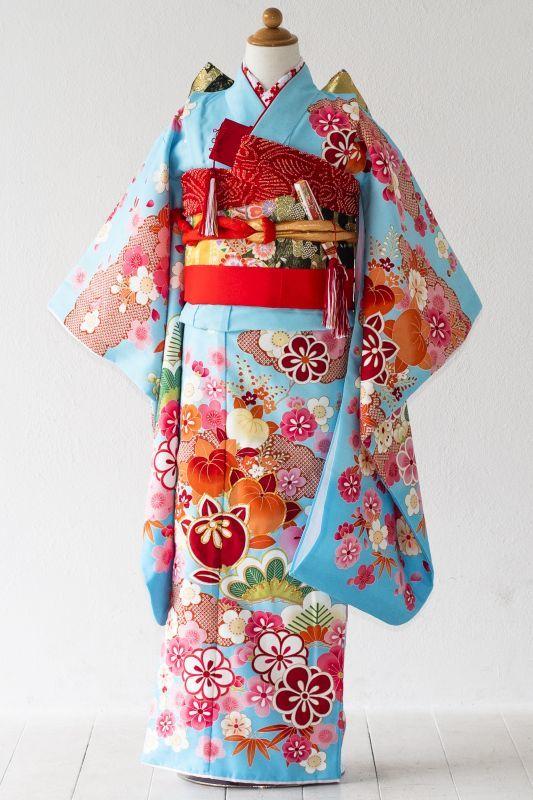 画像1: 【帯】 花 ブルー 【対応身長】115〜135cm (1)