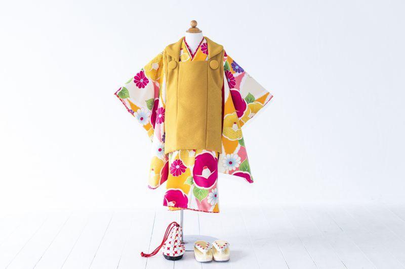 画像1: 被布 黄色牡丹 【対応年齢】2歳6ヶ月〜3歳6ヶ月   【対応身長】85cm〜100cm (1)