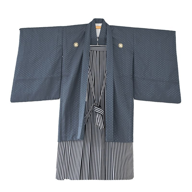 画像1: ジュニア男子着物 羽織袴紺 【対応身長】140〜150cm前後 (1)