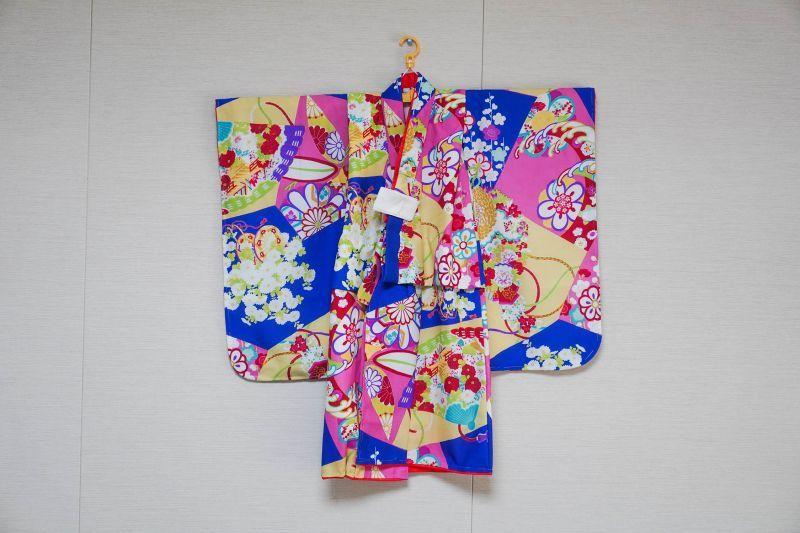 画像1: 【KIMONOTTE】 【袴】花車と檜扇 ブルー  【対応身長】85cm〜100cm (1)