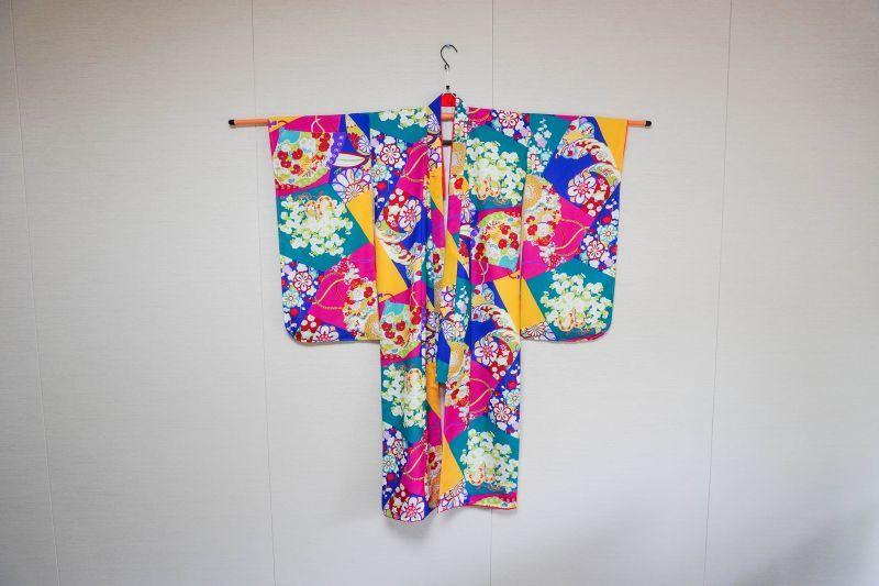 画像1: 【KIMONOTTE】 【袴】花車と檜扇 ブルー  【対応身長】120cm〜138cm (1)
